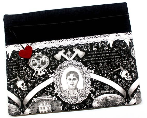 Small Print Lizzie Borden Cross Stitch Embroidery Project Bag