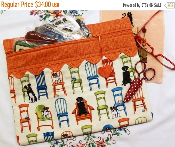 SALE I'll Save Your Seat Dogs Cross Stitch, Sewing, Embroidery Project Bag