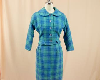 1960s Green and Blue Wool Suit * 60s Wiggle Skirt * 1960s Mod Suit * Womens Mad Men Suit * Blue Plaid Wool Mini Skirt * Betty Draper * Small