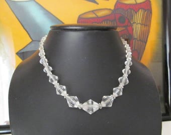 Crystal Glass Necklace, Choker, 16 inch ,Vintage Costume Jewelry