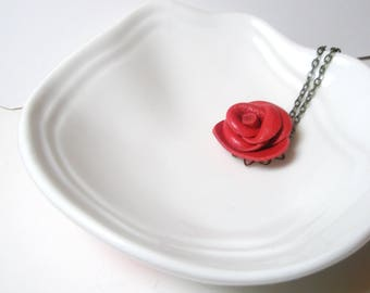3rd anniversary gift -Flower  necklace- Red  Rose Pendant -leather  jewelry -Statement Necklace