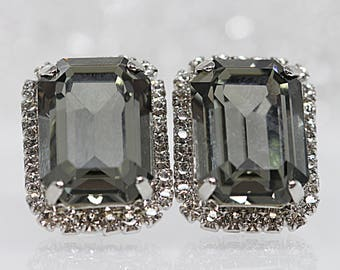 Grey Stud Earrings, Black Diamond Swarovski Crystal Post Earrings, Rectangle Earrings, Oxidized Silver Earrings, Smoky Grey Stud Earrings