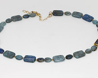Blue Agate Necklace, Gemstone Necklace, Blue And Gold, Necklace For Women, Flat Bead Necklace, Gift From Husband, Art Deco Necklace, For Her