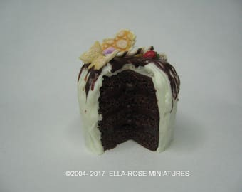 Dark Chocolate & White Chocolate Gateaux 12th scale miniature
