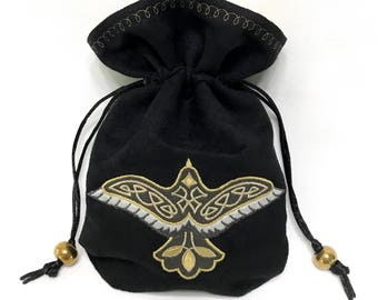 CELTIC RAVEN - Mini Faux Suede Embroidered Pouch for Dice, Runes, LaRp accessory