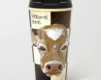 Mugs, Farm Fresh Cow mugs,  Metal travel mug 15 oz