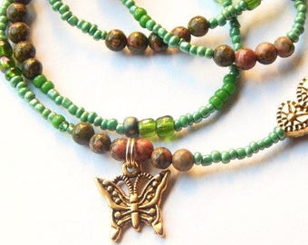 Womb Wellness Waist Beads, Fertility Unakite  Waistbeads,  Pink and Green Belly Beads, Butterfly Belly Chain, Crystal Belly Chain