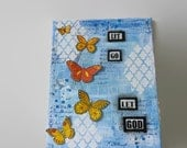 Butterflies Mixed Media Canvas, Let Go Let God Wall Art, Recovery Gifts