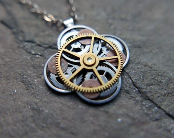 "Clockwork Flower Necklace ""Blumei"" Elegant Recycled Watch Parts Gear Pendant Mechanical Plant Balance Wheel Petals Valentine's Day"