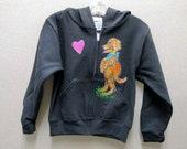 Puppy Love black zip-front hoodie for kids