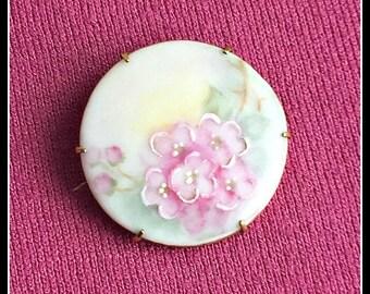 Antique Victorian Brooch, Vintage Hand Painted Porcelain Brooch, Pastel Pink Roses, Antique Porcelain Pin.