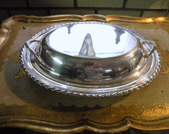 Sterling Silver Covered Dish with Lid - Sterling Wedding Gift- Antique Silver Bowl with Handles