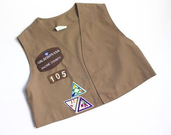 Vintage Brownie Vest / Racine Wisconsin Size Small 6-8 Patches Scouts Kids Childrens Girls