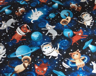 Space cats, Cat fabric, Timeless Treasures, cats in space, space, cats, astronaut, novelty fabric, Tea house fabrics, craft cotton,