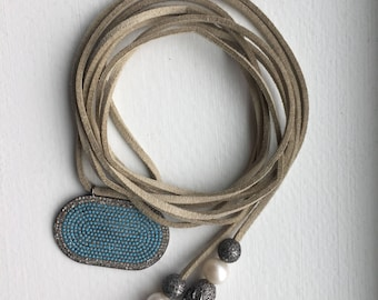 Turquoise, Diamond and Pearl Lariat