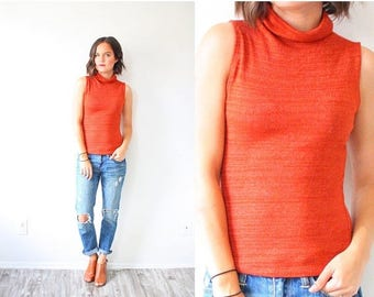 40% OFF CHRISTMAS in JULY Vintage Xs rust orange tank top // boho tank top // high neck turtle neck 90's tank top // cut off tank top // for