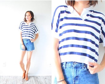 30% OFF SALE Vintage boxy striped 1980's navy blue striped shirt // nautical crop top // boho striped blouse // XS small shirt // button cro