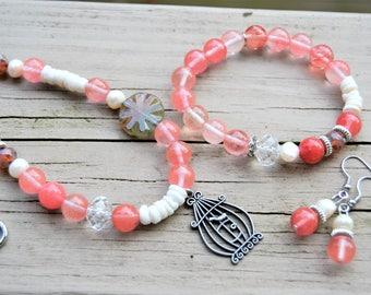 CHERRY QUARTZ SET Necklace Bracelet Earrings Set Cherry Quartz Pearl Bird Cage Pendant