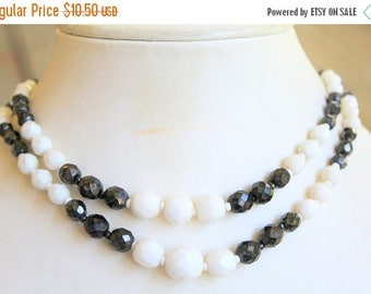 MASSIVE CLEARANCE Pretty Vintage Two Strand White and Pearlized Black Glass Beaded Necklace Made in Western Germany