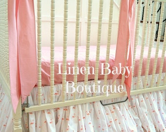 Pink Flamingo Baby Bedding Crib Bedding. Crib Skirt and 3 Bows.