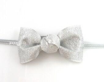 Small Baby Headband in Silver, tiny bow headband, newborn headband, baby headbands, infant headbands, thin elastic, cute headbands, darling