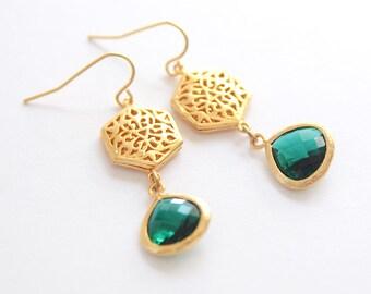 Emerald Art Deco Earrings Bridal Earrings Gold Crystal Drop Earrings Bridal Earrings Vintage Wedding Jewelry Green Chandelier Earring
