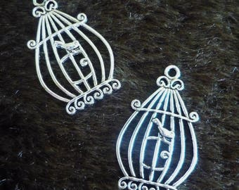 1 charm pendant cage + bird silver 33x20mm