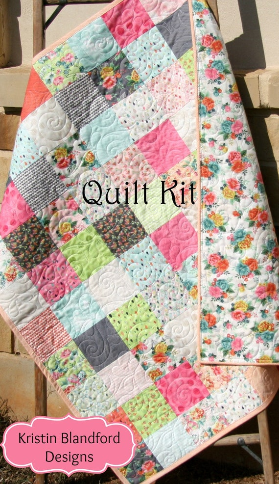 Baby girl quilt kit fresh cut by basic grey moda fabrics flowers in coral orange pink yellow - Do it yourself moda ...