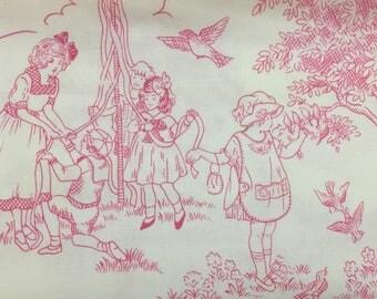 Robert Kaufman Cute To Boot in Woodrose, BK-3668-9, Pink Toile