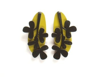 Black and Mustard green Long Plywood floral earrings