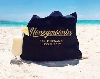 ON SALE honeymoon tote, Custom tote bag, bride gift, wedding gift, personalized gift, bridal shower gift