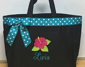 Personalized Hibiscus Hawaiian Flower Bag Tote