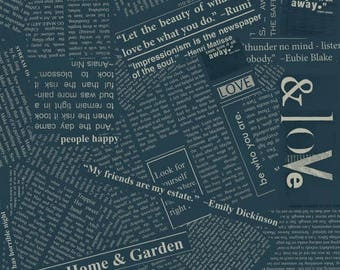 Newsprint in Indigo Blue Story Fabric by Carrie Bloomston for Windham Fabrics