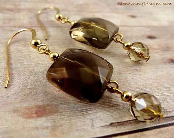Smokey Quartz Gemstone Earrings