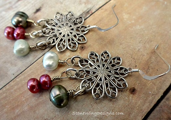Silver Filigree Chandelier Earrings With Rose and Green Pearls