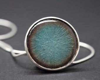 Sterling silver transparent vitreous enamel blue necklace enamel pendant embossed pendant fired on copper