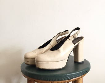 Vintage 70s White Platform Shoes