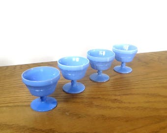 Doric Delphite Blue Footed Sherbet Ice Cream Dishes 1930s Housewares Jeannette Glass Company Vintage Depression Glass