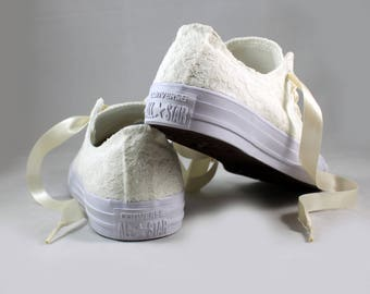 Ready to ship size 8 Lace MonoChrome Bridal Converses -- Ivory Lace Converse --Wedding Tennis shoes  - Wedding Converse
