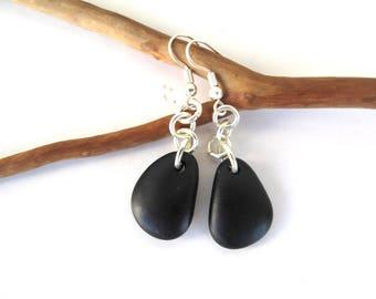 Rock Earrings Beach Stone Earrings Natural Stone Mediterranean Jewelry River Stone Earrings Pebble Earrings Black Silver BLACK DROPS