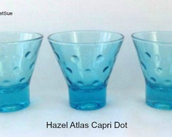 3 Vintage CAPRI DOT Shot Glasses Hazel Atlas Azure Blue MARTINI 1960s Mid Century Retro