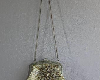 SALE gold handmade vintage purse with beaded sunburst design