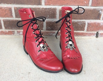 vtg 80s Red leather THUNDERBIRD CONCHOS Roper BOOTS 9.5 grunge western fringe lace up cowboy etched metal