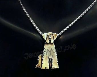 Sterling Silver Golden Retriever Necklace - Cinnamon