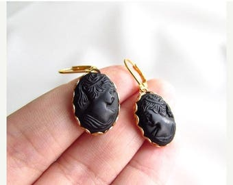 SHIPPING DELAY SALE 10% Black Cameo Earrings, Vintage Cameo Earring, Victorian Cameo Earring, Mourning Earring, Black Glass Cameo Victorian