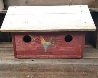 Red rooster birdhouse,garden decor,rustic bird house,farmhouse decor, country cottage,primitive birdhouse,primitive birdhouse,barn red decor