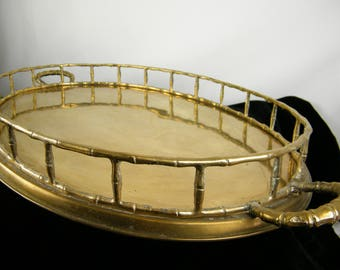HOLIDAY SALE Large Brass Serving Tray / Faux Bamboo Motif Mid Century Modern / Brass Serving Tray / Cocktail Serving Tray / Bar Accessory /