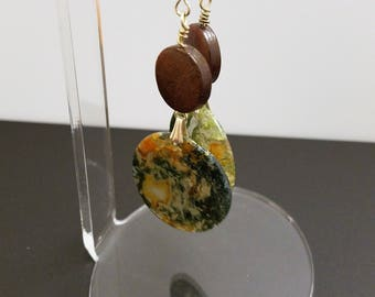 Dangle Earrings Featuring Moss Agate Slices with Wooden Lentil Beads