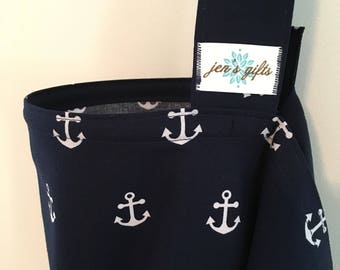 Nursing Cover Up in Navy with White Anchors, Breastfeeding Cover in Navy Blue with Anchors
