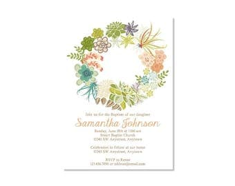 Floral Wreath Baptism Invitation